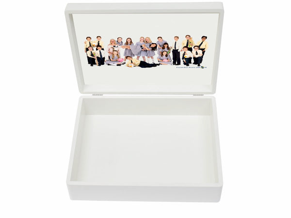 Fulham School Memory Wood Box - A4 Box - White top - Personalised