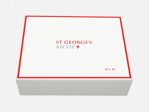 St Georges Ascot School Memory Wood Box - A4 box - White - Personalised