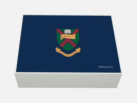 Caldicott School Memory Wood Box  - A4 Box - Blue - Personalised