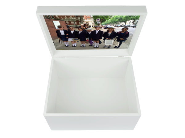Queensgate  School Memory Wood Box - A4 Chest - Personalised