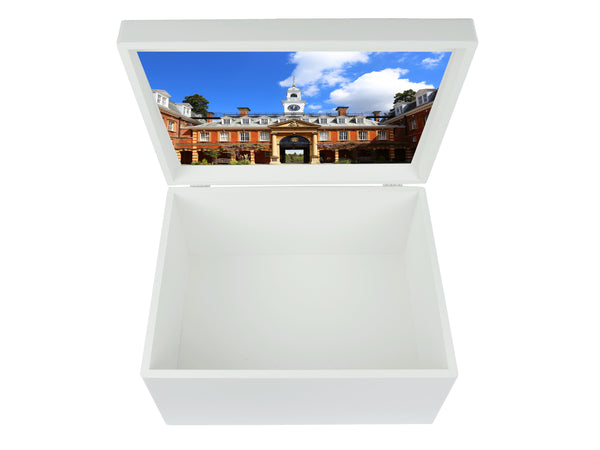 Wellington College School Memory Wood box - A4 Chest - Blue top - Personalised