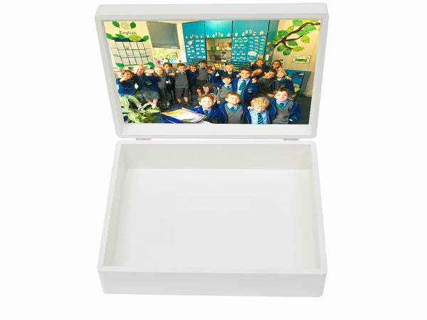Personalised A4-sized Kew Green School Memory Wood Box - A4 Box - Blue top