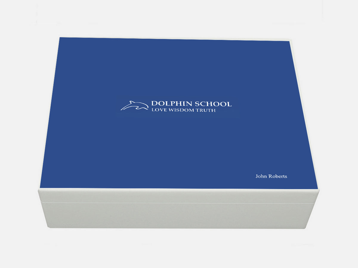 Dolphin School Memory Wood Box - A4 Box - Personalised