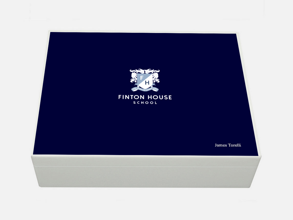 Finton House School Memory Wood Box - A4 box - personalised