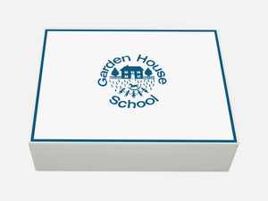 Garden House School Memory Wood Box - A4 box - White- Personalised