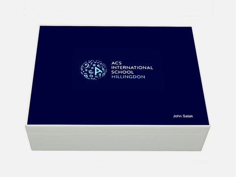 ACS Hillingdon School Memory Wood Box - A4 Box - Personalised