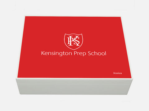 Kensington Prep School Memory Wood Box - A4 Box - Red top - Personalised