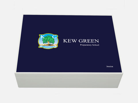 Personalised Kew Green School Memory Wood Box - A4 Box - Dark blue top