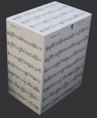 St Paul's School Memory Wood box - A4 Tall - Music Notes - Personalised