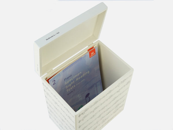 Inside box file with ABRSM books