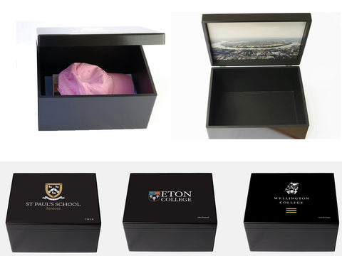 Personalised Luxury Black School Memory Wood Box - A4 Chest