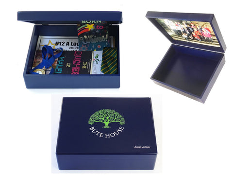 Personalised Luxury Blue School Memory Wood Box - A4 Box