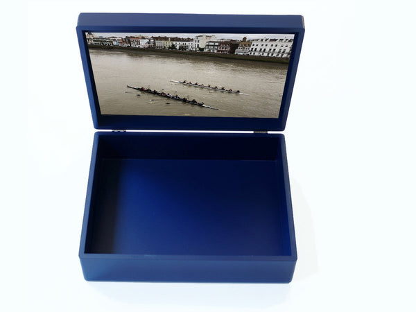 Blue wooden file box with photo inside
