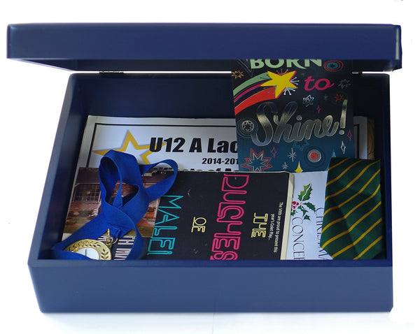 Blue wooden box file with memorabilia