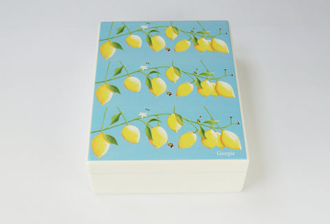 Luxury wooden box file with lemons