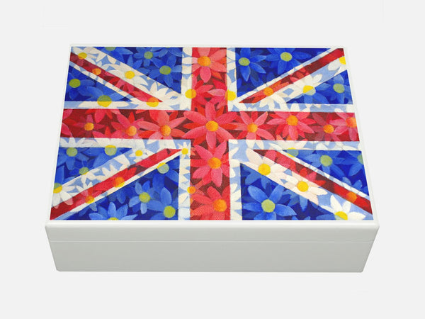 White Personalised Union Jack daisies Wooden File Box 335 x 260 x 100 mm