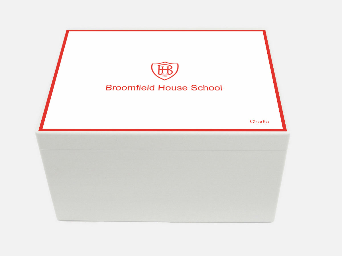 Broomfield House School Memory Wood Box - A4 Chest - Personalised