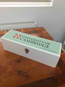 Personalised White Cambridge Blue Wine Box |Storage Box/ Sewing Box|Stationary Supplies|Art Supplies in Cambridge Blue