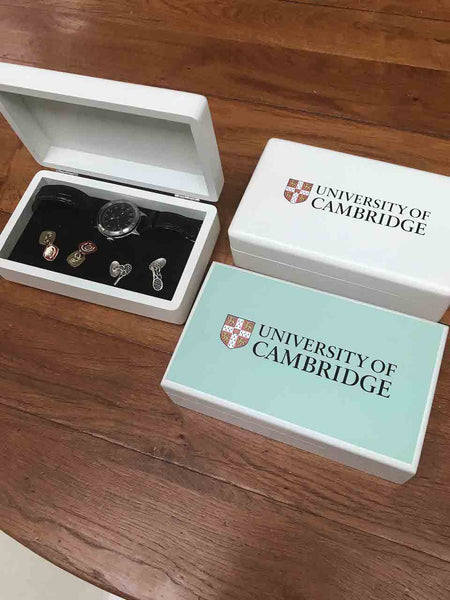 For Him - Personalised  University of Cambridge White Cufflinks/Watch Box
