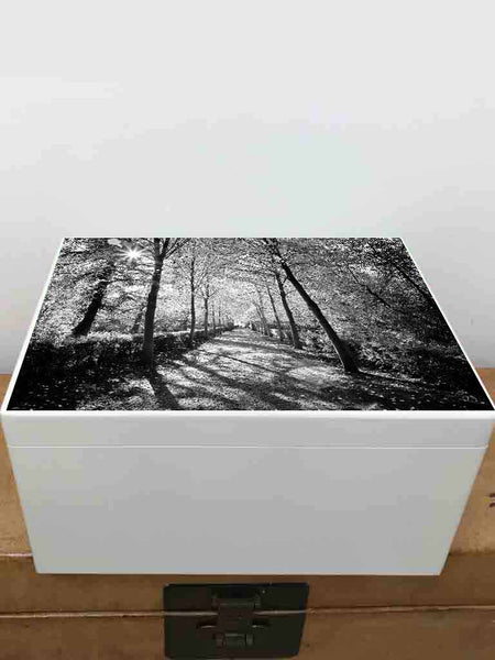 Your photo on Extra Large a4 size white wooden chest  | Personalise with your photo on the outside top and your photo on the inside lid 335 x 260 x 180 mm