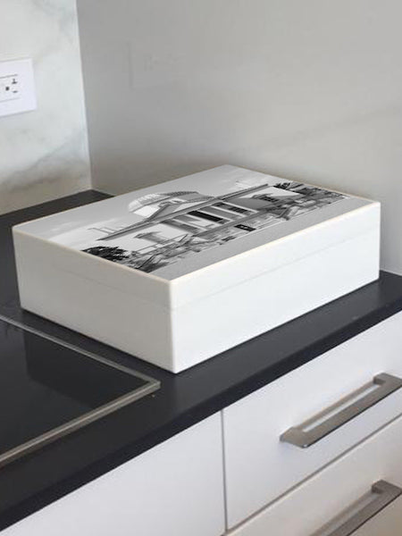 White Chiswick House Wooden Box File - for A4 sized papers, magazines, post 335 x 260 x 100 mm