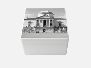 White Chiswick House  Medium Square Wooden Trinket Box