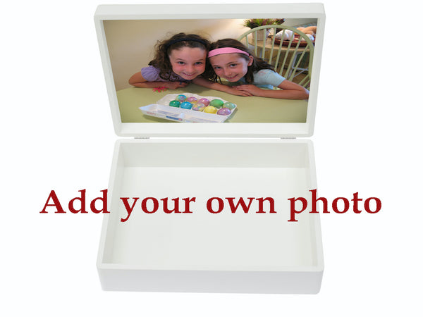 Large A4 size white wooden box with colour top (6 colours available)  | Personalise with initials or a name & your own photo on the inside lid 335 x 260 x 100 mm