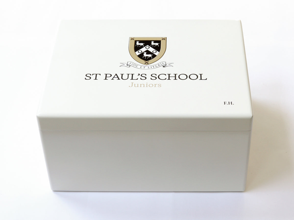 Luxury White A4 Document Wood Box - Large