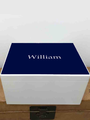 Extra Large A4 Size Colour Top (6 colours available) White Wooden Chest  | Personalise with your initials or a name and your photo on the inside lid 335 x 260 x 180 mm