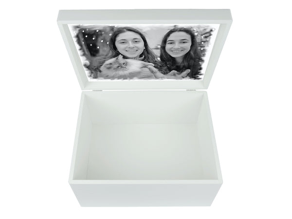 Extra Large A4 Size White Wooden Chest with Your Family Name for Family Memories | Personalise with the family's name and your photo on the inside lid 335 x 260 x 180 mm