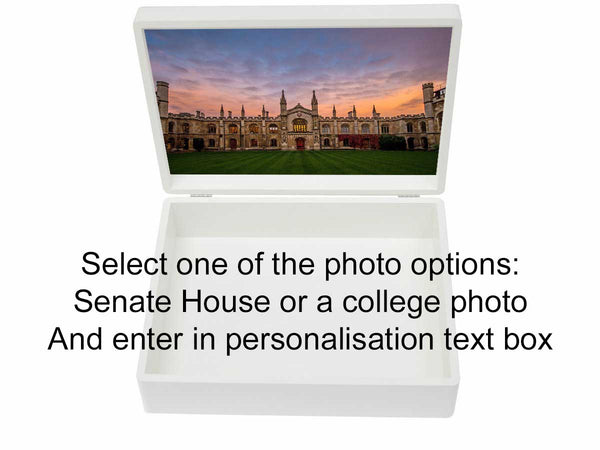 Personalised University of Cambridge White A4 Memory Box with College Photo Option| For A4-sized papers and  memorabilia