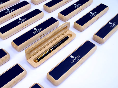 50 x Pen set - Maple pen case with blue laser-engraved rollerball pen