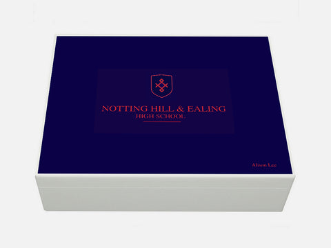 Notting Hill & Ealing High School Memory Wood Box - A4 box - Personalised