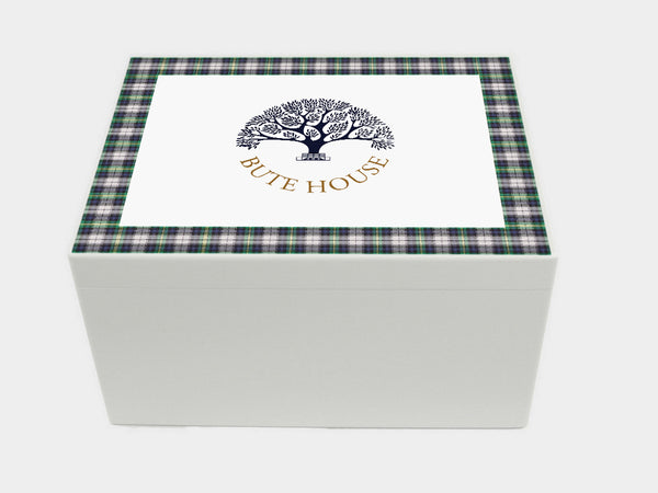 Extra Large A4 Chest Bute House School Memory Wood Box - Tartan Top - Personalised