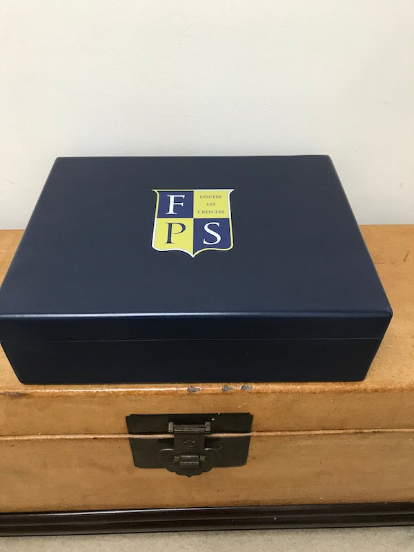 Dark blue large luxury A4 size wooden box file for A4 size documents magazine  335 x 260 x 100 mm