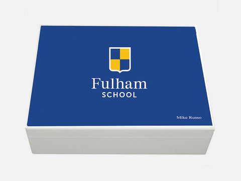 Fulham School Memory Wood Box - A4 Box - Blue top - Personalised