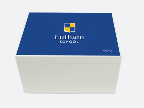 Fulham School Memory Wood Box - A4 Chest - Blue top - Personalised