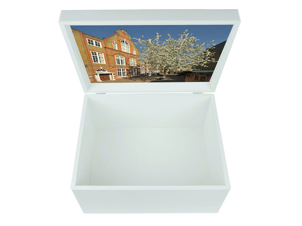 Fulham School Memory Wood Box - A4 Chest - White top - Personalised