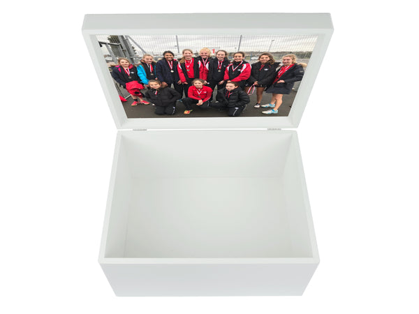 Godolphin & Latymer  School Memory Wood Box  - A4 Chest - Red top - Personalised