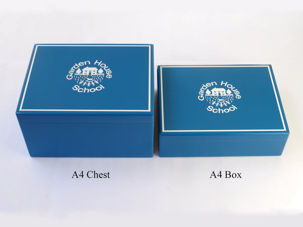 Garden House School Memory Wood Box - A4 Box  - Teal - Personalised