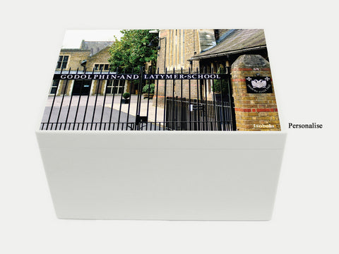 Godolphin & Latymer School Memory Wood Box - A4 Chest - Photo top - Personalised