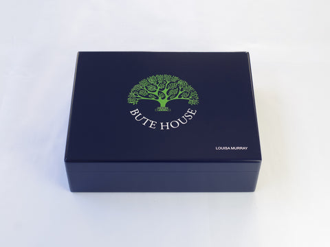 Large A4 Bute House School Memory Wood Box  - Blue - Personalised
