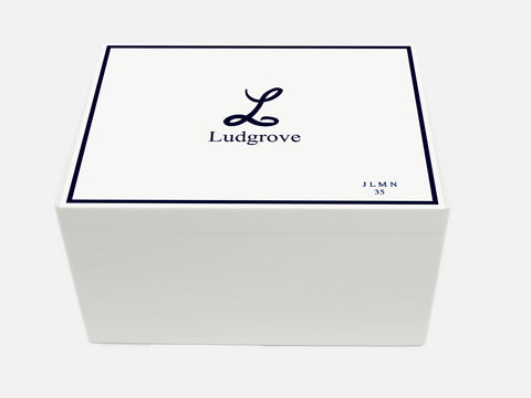 Ludgrove School Memory Wood Box - White - A4 Chest - Personalised