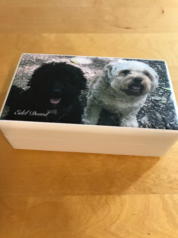 Your Photo on white wooden Jewellery Box  | Personalise with a photo on outside top 198 x 116 x 63 mm