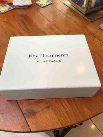Large A4 Size White Key Documents Personalised Wooden Box | Personalise with initials or name and your photo on inside  lid 335 x 260 x 100mm