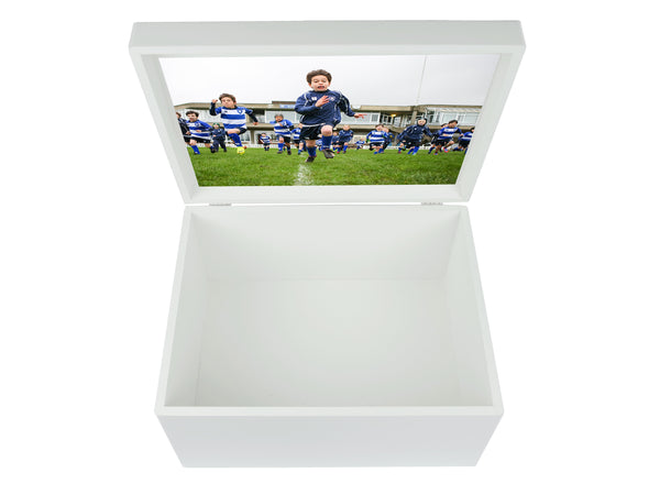 King's House School Memory Wood Box - A4 Chest - Royal blue top - Personalised