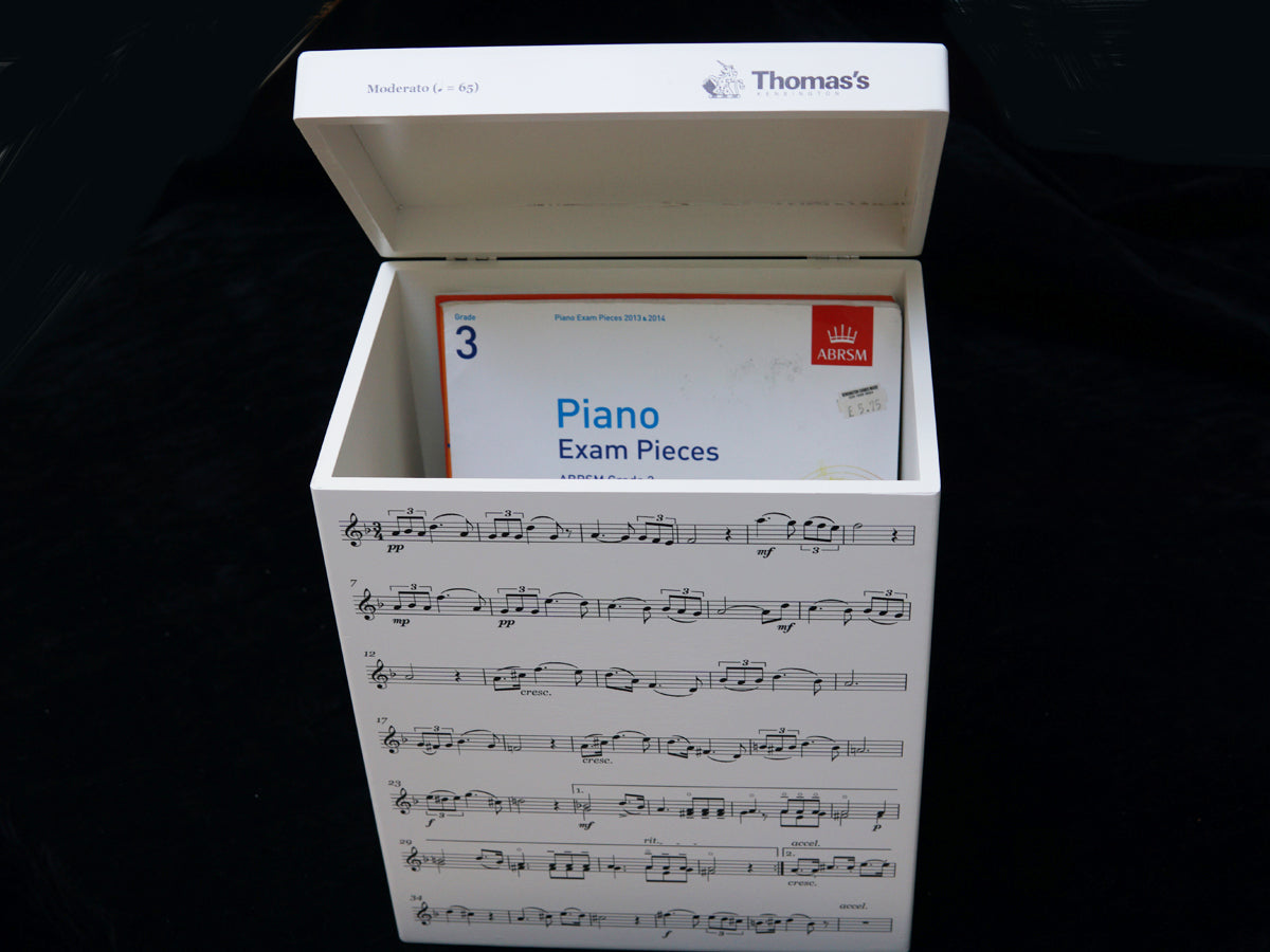 Thomas's Kensington School Memory Wood Box - A4 Tall - Music Notes - Personalised