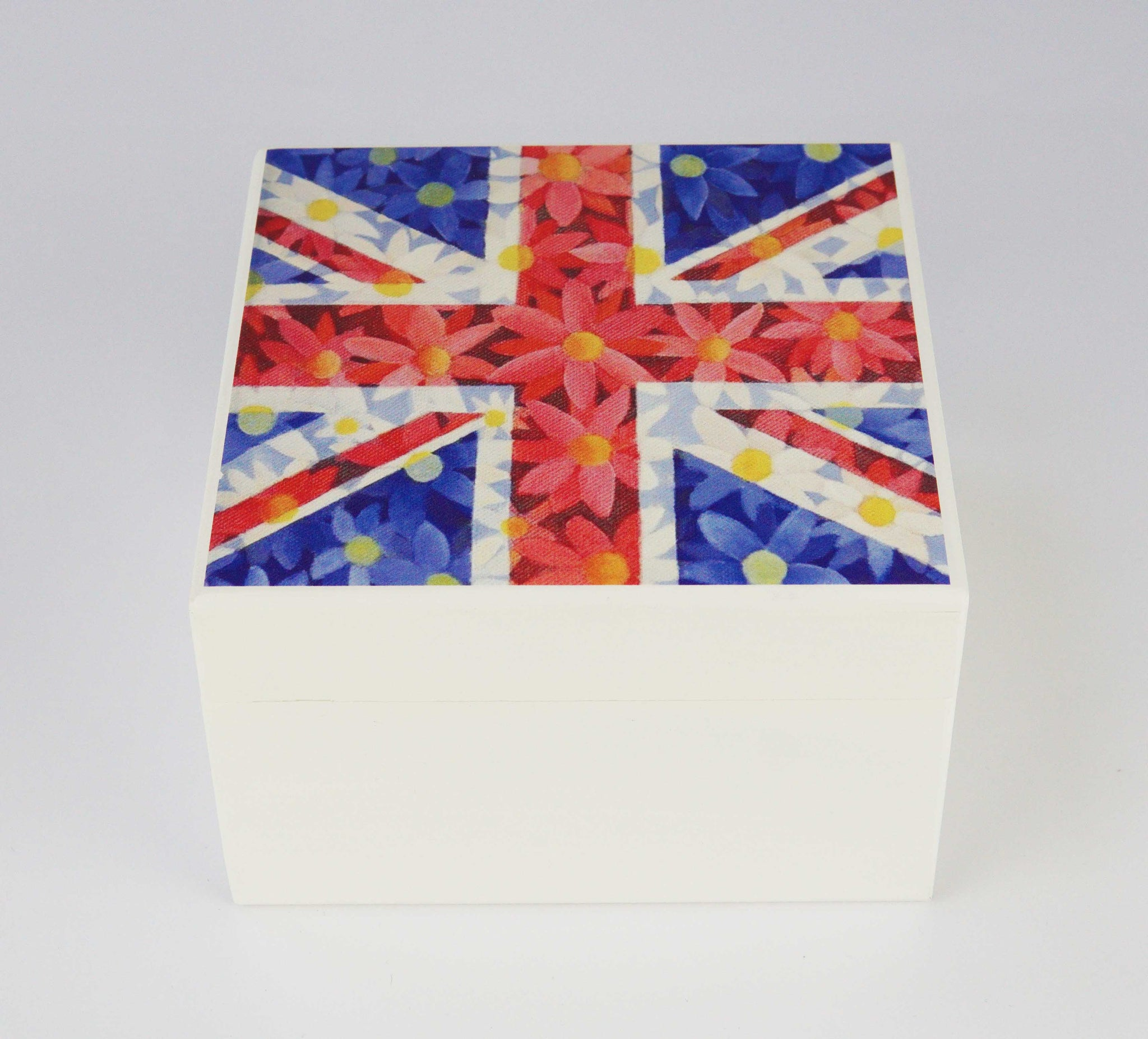 White Union Jack Daisie Square Wooden Trinket Box