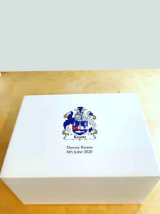 Extra Large A4 Size White Wooden Chest  | Personalise with your name and family crest  335 x 260 x 180 mm
