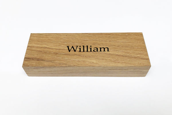 Oak Pen Case and Oak Pen Pot | Personalise with name or initials